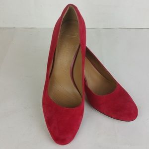 Clarks Collection Arista Abe Red Suede Pumps 8 EUC